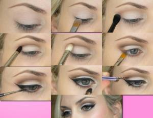 Soft-eye-makeup-with-winged-eyeliner